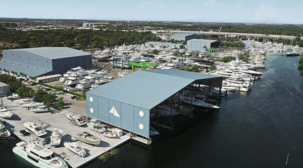 Yacht repair under shed